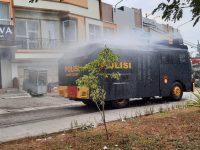 Cegah Covid 19, Polres Cilegon Semprot Disinfektan di Kota Cilegon