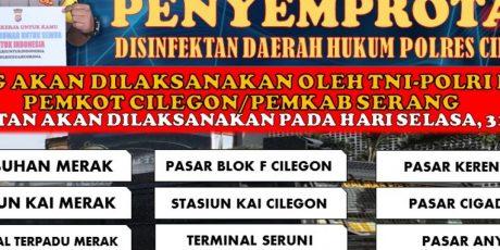 Penyemprotan Disinfektan Serentak Daerah Hukum Polres Cilegon