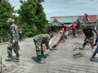 Tingkatkan Kemanunggalan, Anggota Kodim 0802/Ponorogo Karya Bakti Bangun Pondok Pesantren